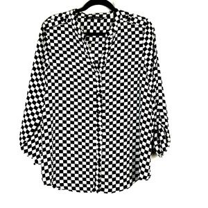 Zac & Rachel Checkered Blouse Button Up Sheer